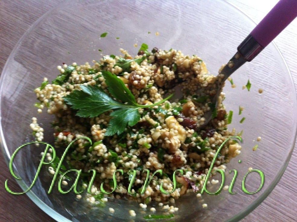 Salade bio de quinoa aux ch taignes plaisirs bio for Entretien salade jardin